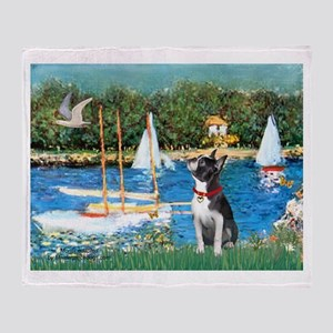 """Sailboats"" & Boston Ter Throw Blanket"