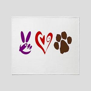 Peace, Love, Pets Symbols Throw Blanket