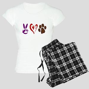 Peace, Love, Pets Symbols Women's Light Pajamas