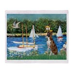Sailboats & Boxer Throw Blanket