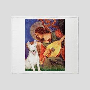 Mandolin Angel / Bull Terrier Throw Blanket
