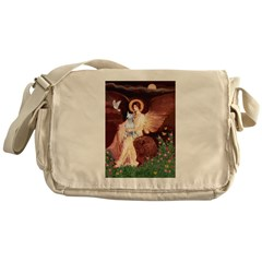 SeatedAngel-BullTerrier (P) Messenger Bag