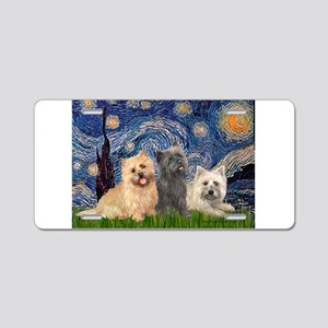 Starry/3 Cairn Terriers Aluminum License Plate