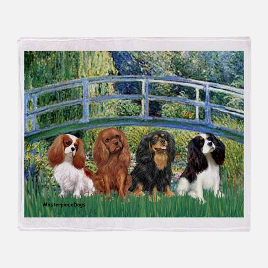 Bridge & 4 Cavaliers Throw Blanket