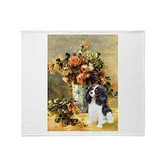 Flowers & Tri Cavalier Throw Blanket