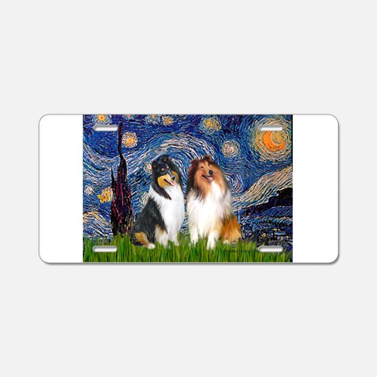 Starry Night / Collie pair Aluminum License Plate