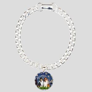 Starry Night / Collie pair Charm Bracelet, One Cha