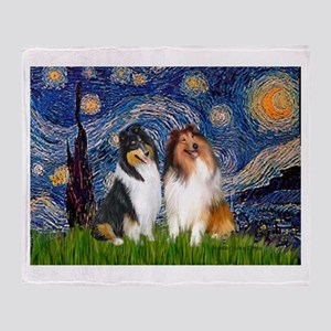 Starry Night / Collie pair Throw Blanket