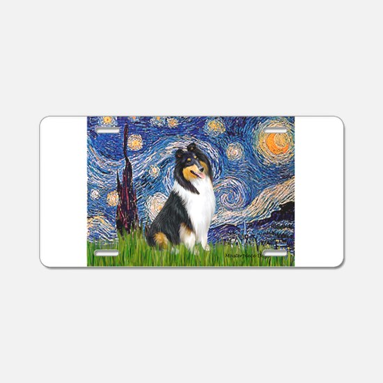 Starry Night / Collie (tri) Aluminum License Plate