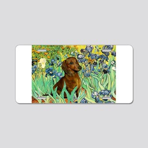 Irises & Dachshund Aluminum License Plate