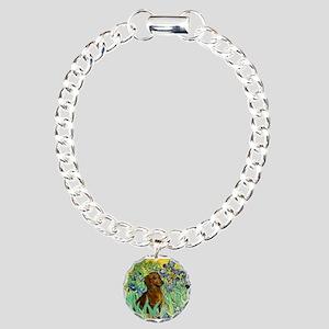 Irises & Dachshund Charm Bracelet, One Charm