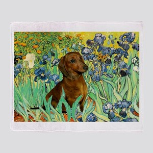 Irises & Dachshund Throw Blanket