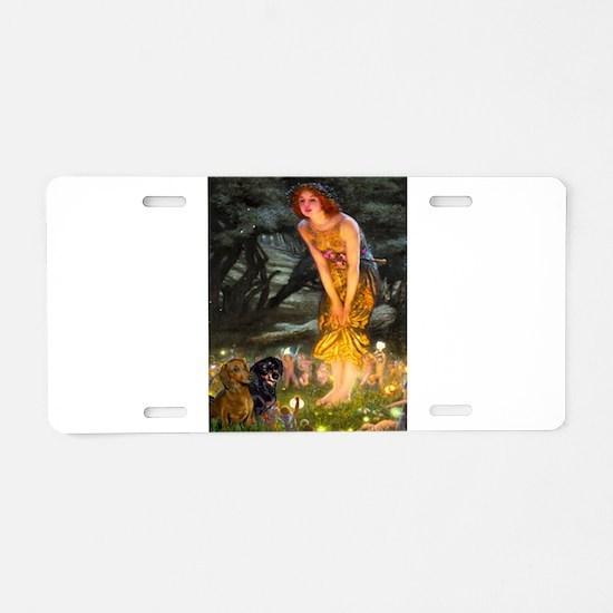 Fairies / Dachshund Aluminum License Plate