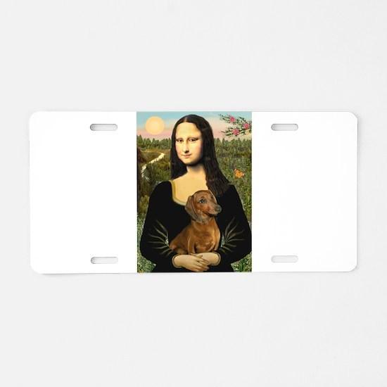 Mona's Dachshund Aluminum License Plate