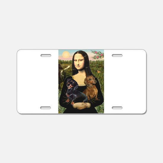 Mona Lisa's Dachshunds Aluminum License Plate