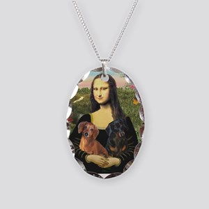 Mona Lisa's Dachshunds Necklace Oval Charm