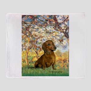 Spring / Dachshund Throw Blanket