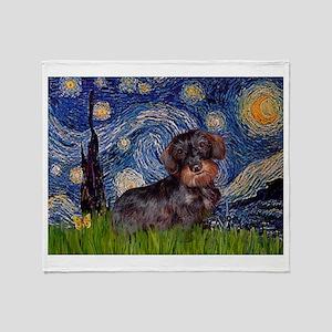 Starry Night Dachshund (Wire) Throw Blanket