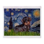 Starry Night Dachshund (Wire) Throw Blanket