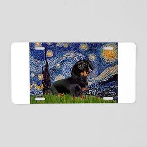 Starry Night Dachshund Aluminum License Plate