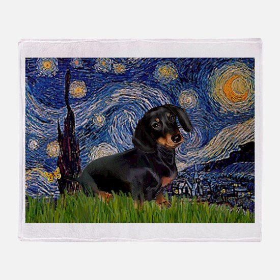 Starry Night Dachshund Throw Blanket