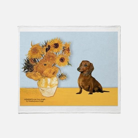 Sunflowres / Dachshund Throw Blanket