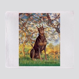 Spring / Doberman Throw Blanket