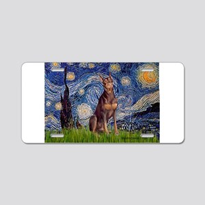 Starry / Red Doberman Aluminum License Plate