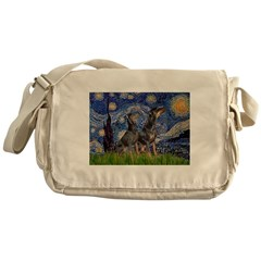 Starry Night / 2 Dobies Messenger Bag
