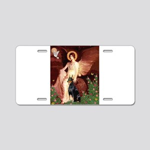 Seated Angel & Dobie Aluminum License Plate