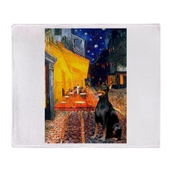 Cafe & Doberman Throw Blanket