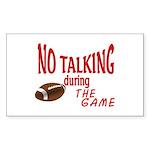 No Talking Football Sticker (Rectangle 50 pk)