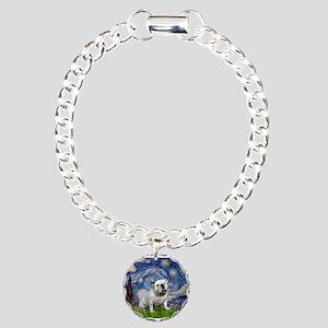 Starry Night English Bulldog Charm Bracelet, One C