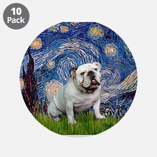 "Starry Night English Bulldog 3.5"" Button (10 pack)"