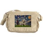 Starry Night English Bulldog Messenger Bag