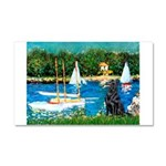 Sailboats / Flat Coated Retri Car Magnet 20 x 12