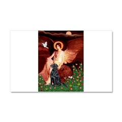 Angel / Flat Coated Retriever Car Magnet 20 x 12
