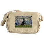 Lilies / Flat Coated Retrieve Messenger Bag