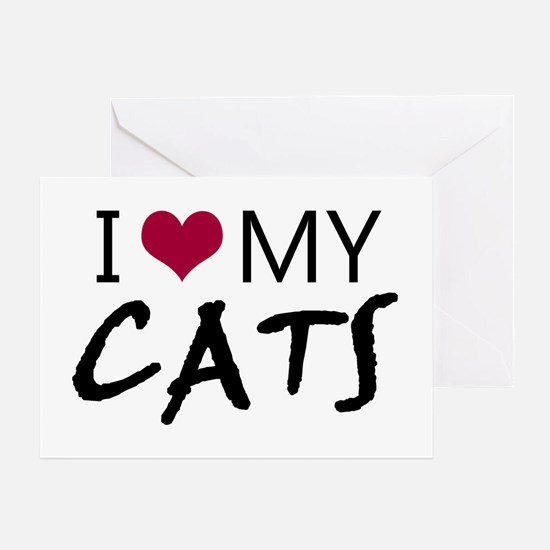 'I Love My Cats' Greeting Card