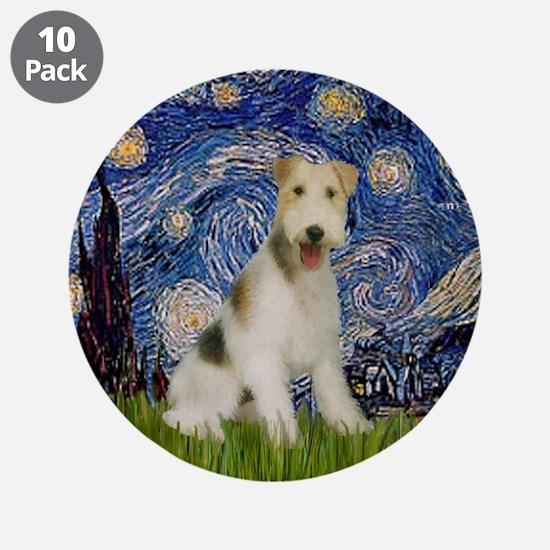 "Starry / Fox Terrier (W) 3.5"" Button (10 pack)"