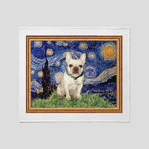 Starry/French Bulldog Throw Blanket