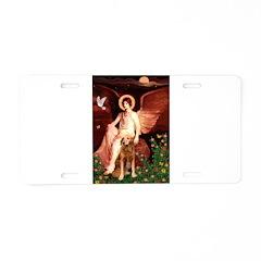 Angel & Golden Retrieve Aluminum License Plate