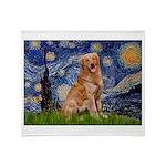 Starry Night Golden Throw Blanket
