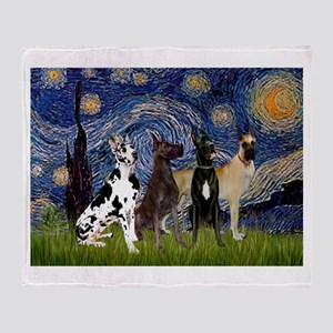 Starry / 4 Great Danes Throw Blanket