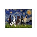 Starry / 4 Great Danes Car Magnet 20 x 12