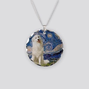 Starry Night / Pyrenees Necklace Circle Charm