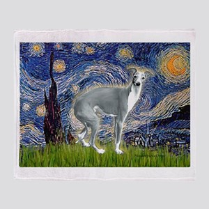 Starry Night/Italian Greyhoun Throw Blanket
