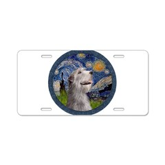 Starry Irish Wolfhound Aluminum License Plate