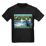 Sailboats & Black Lab Kids Dark T-Shirt