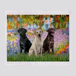 Monet's Garden & Lab Trio Throw Blanket